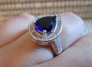 Blue Pear Shaped CZ sterling silver ring.