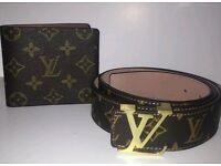 **LOUIS VUITTON MATCHING WALLET & BELT**