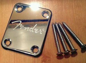 Chrome Neck Plate & Screws for Fender, Squier, Strat, Tele, Jag, Bass