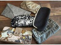Clutch evening hand bad bundle gold silver faux fur 6 bags