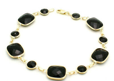 14K Yellow Gold Bracelet With Round and Cushion Cut Black Onyx 7.5 Inches