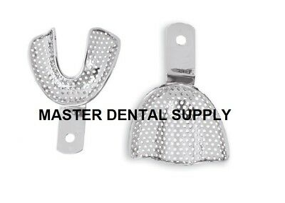 Dental Edentulous Impression Trays Metal Stainless Steel Perforated 8 Pcs