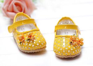 Nuevo-Bebe-Nina-Amarillo-Fiesta-Zapatos-9-12-meses