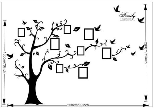 Купить Family Tree Wall Decal Sticker Large Vinyl Photo Picture Frame Removable Black