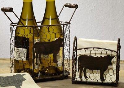 Cow Chicken Wire Caddy Set of 2 Metal Baskets Napkin Holder Farmhouse Kitchen