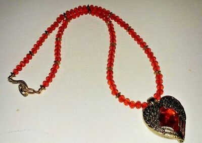 Beautiful Heart Necklace With Wings and Gorgeous Red - Beautiful Gorgeous Crystal Necklace Earring