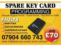 RENAULT MEGANE SCENIC GRAND SPARE KEY CARD FAULTY NEW KEYCARD PROGRAMMED, west midlands , coventry