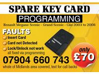 RENAULT MEGANE SCENIC REPLACEMENT KEY CARD , CARD NOT DETECTED , LOCK UNLOCK NOT WORK