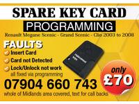 RENAULT MEGANE SCENIC CLIO,, KEY CARD REPLACEMENT SERVICE, LOST KEY CARD REPLACEMENT, SPARE KEY CARD