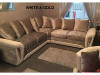 SHANNON CORNER OR 3+2 SEATER SOFA IN WHITE/GOLD | EXPRESS DELIVERY ALL UK | 1 YEAR WARRANTY