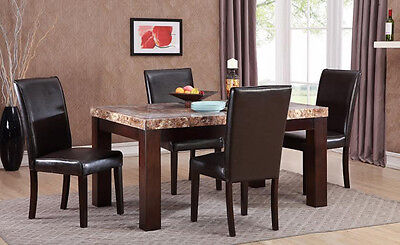 New 5-Piece Faux Marble Top Dinette Dining Set, Includes Table with 4 (Marble Top Dining Set)