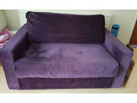 2 seater purple sofa, good condition. BEST OFFER