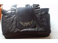 Baby K (Mothercare) Black changing bag with leopard print wipe clean lining