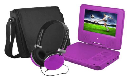 """Ematic 7"""" Portable DVD Player with Swivel Screen Purple EPD707PR"""