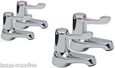 LEVER BASIN SINK AND BATH PILLAR TAPS EASY 1/4 TURN CHROME PAIR HOT COLD SET TVK ()
