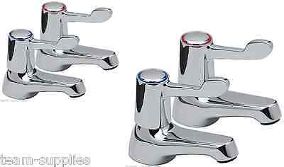 LEVER BASIN SINK AND BATH PILLAR TAPS QUARTER TURN CHROME PAIR HOT COLD SET TVK ()