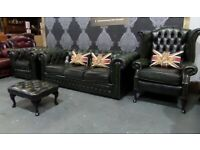 Refurbished Chesterfield Suite 3 Seater sofa Wing Back Club Chair & Stool Green Leather - Delivery