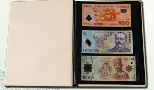 60 Pockets Paper Money Currency Banknote Collection Book Storage Leather Album