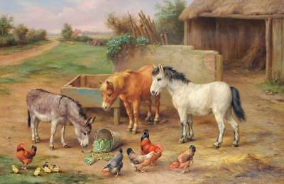 Donkey, Ponies and Chickens in Farm Yard  by Edgar Hunt