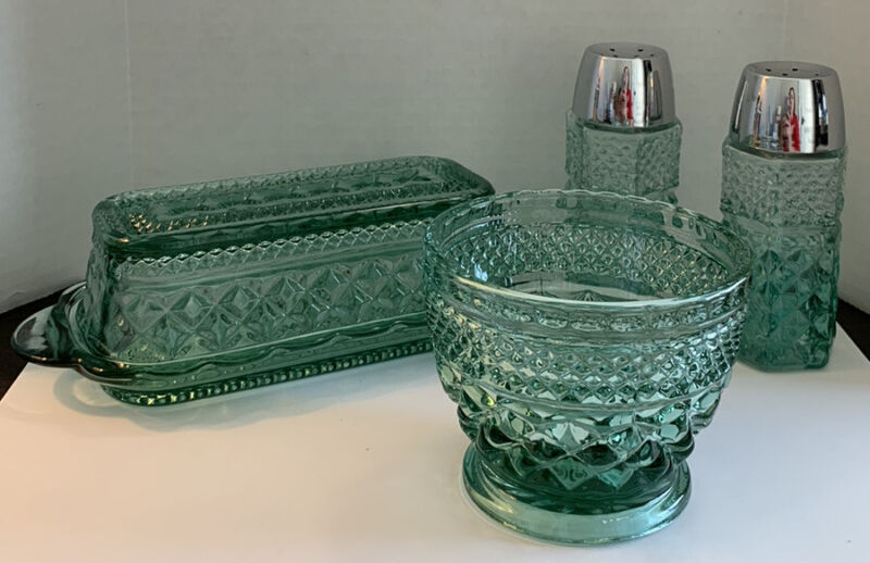 Anchor Hocking Vintage Clear Green Glass Butter Dish Salt Pepper Shakers Wexford