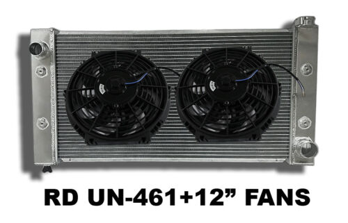 "2Row Universal Aluminum Left Inlet Radiator 31.7Wx17.5Hx3.74D+2x12"" Fans COMBO"