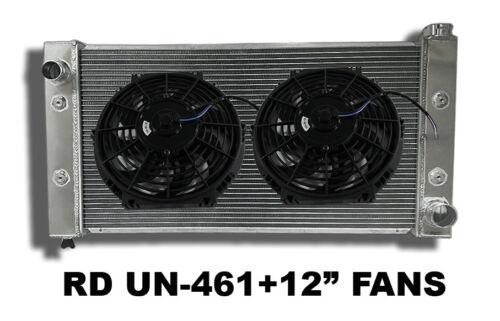 "2 Row Universal Aluminum Radiator 31.7Wx17.5Hx3.74D+2 x12"" Fans COMBO Left Inlet"