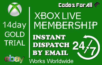 Xbox Live 14 Day 2 Weeks Gold Trial Code 14 Days 2 Week   Instant Dispatch