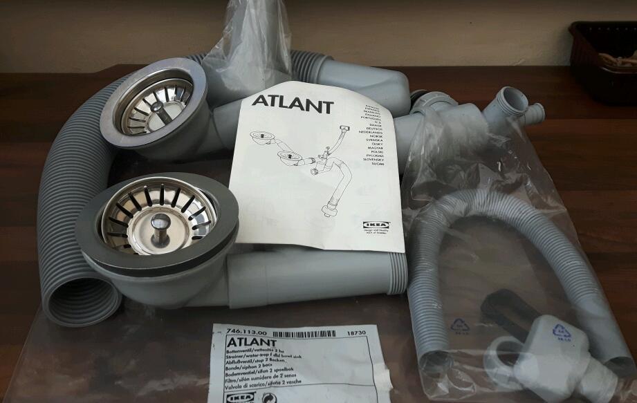 Ikea Atlant Strainer Water Trap Dbl Bowl Sink In