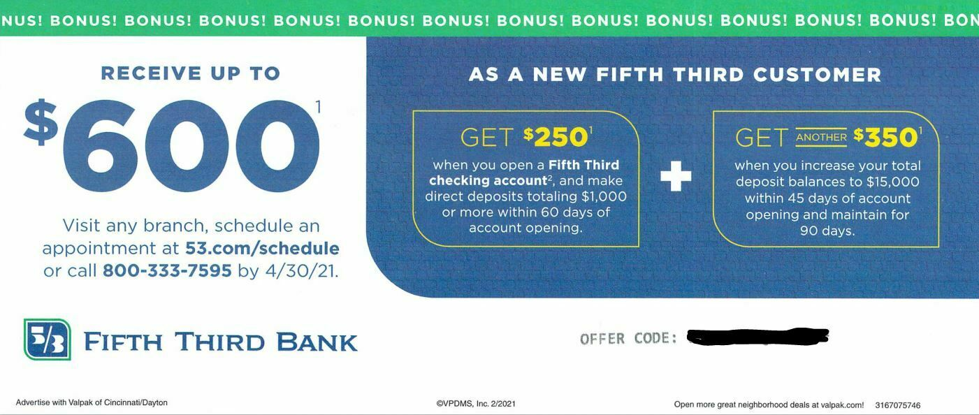 Fifth Third Bank. Receive Up To 600 For New Checking Acct. Exp. 4/30/21 - $5.99