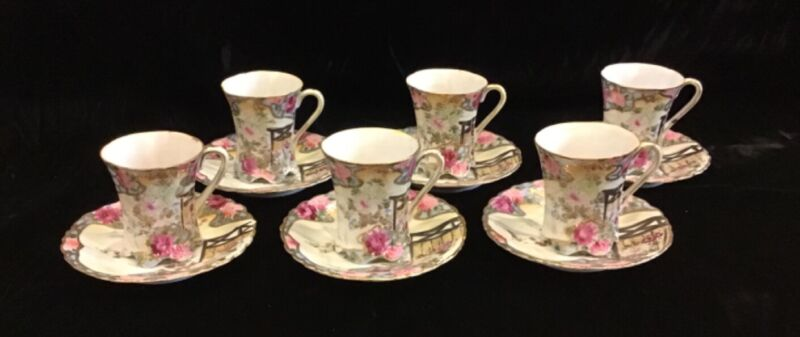 Japanese Hand Painted Chocolate Cups and Saucers -  Set of 6 - Excellent Cond.