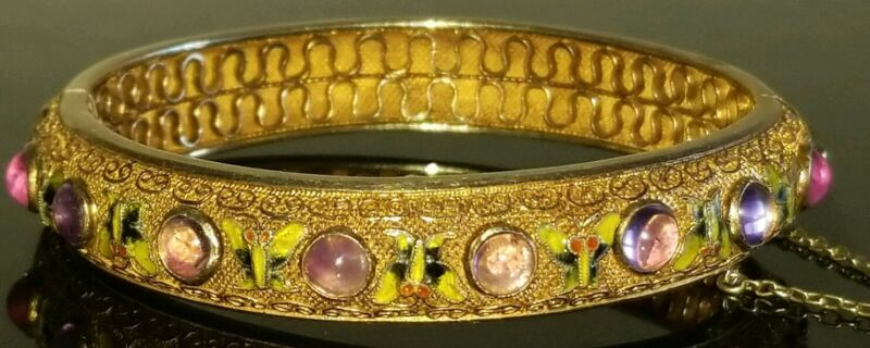 VTG CHINESE STERLING VERMEIL FILIGREE AMETHYST CABOCHON ENAMEL BANGLE BRACELET