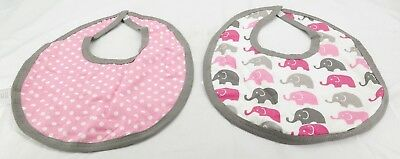 Baby Bibs Elephant Polka Dot Set Pink and Grey ( Set of 2 ) by Bacati   T2 Pink Elephant Baby Bib
