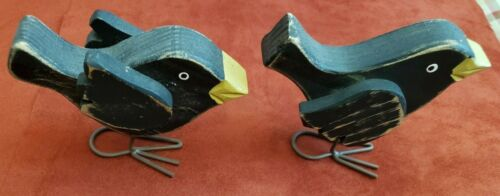 Wooden Crows with Wire Feet