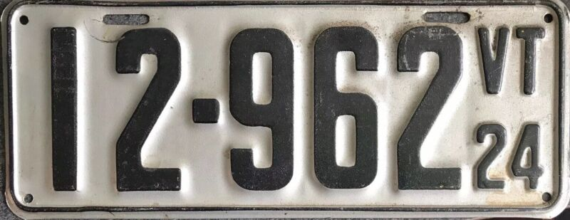 1924 Vermont License Plate Vintage Garage Ford Model T Chrysler