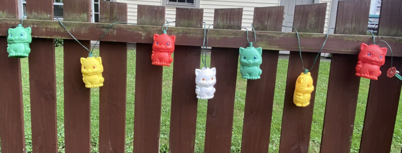 Vintage Blow Mold String Lights Rv Camping patio 7 cat characters