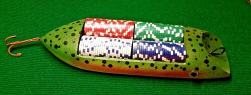 Poker Chips Rainbow Trout Fishing Lure Holder Texas Holdem Christmas Fathers Day