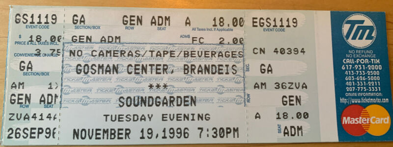 Unused 1996 Soundgarden Gosman Brandeis Boston Full Concert Ticket stub 11/19/96