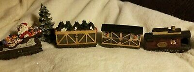 1998 CHRISTMAS/SANTA TRAIN DECORATIVE SET ENGINE 2 CARS & CABOOSE