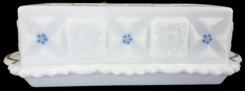 """Westmoreland Milk Glass w/HP Forget Me Nots Old Quilt 7.5""""l Covered Butter Dish"""