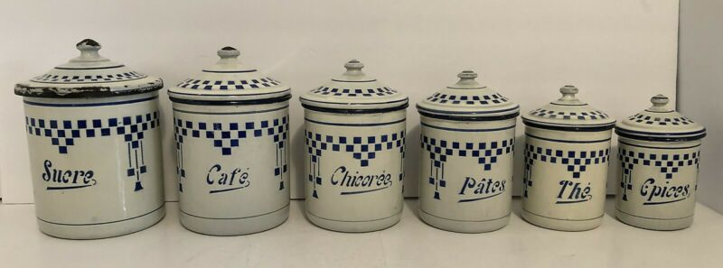 Set of 6 Blue and White Checked Enamel Vintage Nesting Canisters France