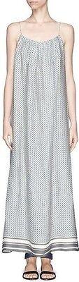 $395 NWT VINCE MAXI 100% SILK DRESS- STAR PRINT BORDER  COASTAL BLUE SZ M Silk Border Print Dress