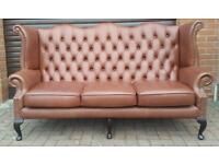 Chesterfield leather Queen Anne, wingback 3 seater sofa. EXCELLENT CONDITION! BARGAIN!