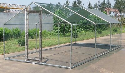 Large Metal 20x10 ft Chicken Coop Backyard Hen House Cage Run Outdoor Cage
