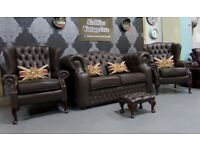 Immaculate Chesterfield Brown Leather 2 Seater Oxford Sofa & 2 Wing Back Chairs _ Uk Delivery