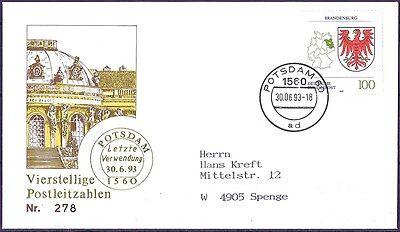 BRD 1993: Aus für Vierstellige! Brief mit Stempel Potsdam 30.6.! Gelaufen! 1804