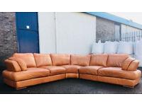 Orange tan italian leather sofa DELIVERY AVAILALBE