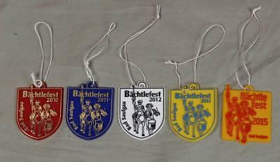 Bächtlefest Saulgau , Bad Saulgau - 5 alte Plaketten - von 2010 bis 2015