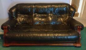 3 piece dark green sofa