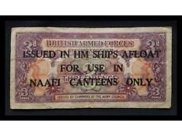 1946, RARE, ISSUE M9b, THREE PENCE NOTE. BRITISH ARMED FORCES SPECIAL VOUCHER, NAAFI CURRENCY.