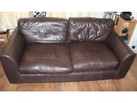 Large double chocolate leather sofa/chaise longue